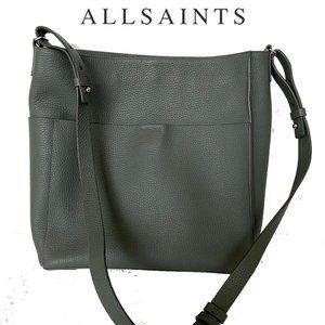 Allsaints Gray Leather Tote Bag